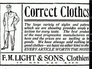 Old F.M. Light and Sons Newspaper Ad | Routt County Sentinel | Steamboat Springs, CO | Western Wear for Over 100 Years