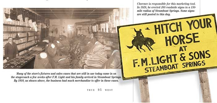 Interior of F.M. Light and Sons in Steamboat Springs, Colorado and famous yellow road sign. Article from True West Magazine