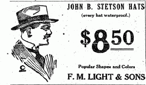 Vintage Stetson Advertisment from F.M. Light and Sons in Steamboat Springs, Colorado Western Wear and Cowboy Clothing