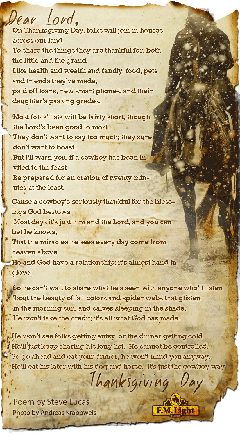 cowboy gives thanks