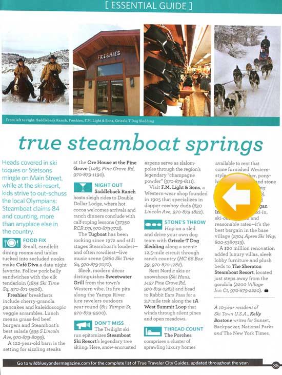 F.M. Light in Wild Blue Yonder Flight Magazine - Steamboat Springs